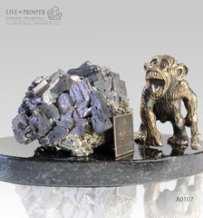 Bronze figure of Monkey on Guard with Sphalerite pyrite on Dolerite plate