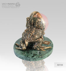 Bronze figure of Frog with Demantoid inserts with Pink quartz Sphere on a Marvel plate