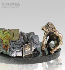 Bronze figure of monkey on guard with sphalerite pyrite on a dolerite plate A0109