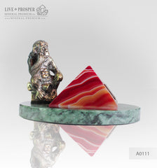 Bronze figure of monkey philosophy with agate pyramid on marvel plate A0111