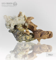 Two bronze hamsters in a mineral mink with gold ore