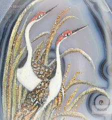 "Cabinet picture of ""Couple of herons - eternal love"" agate plate on velvet glue board in wood frame"