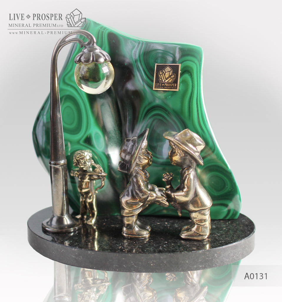 Bronze Cupid and Sweethearts with Malachite and Rock- crystal Sphere on a Dolerite plate A0131