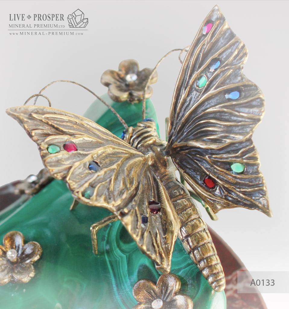 Bronze butterfly and flowers with gems inserts on malachite and marvel plate  Бронзовая бабочка с цветами со вставками из самоцветов на малахитовой и мраморной пластинах