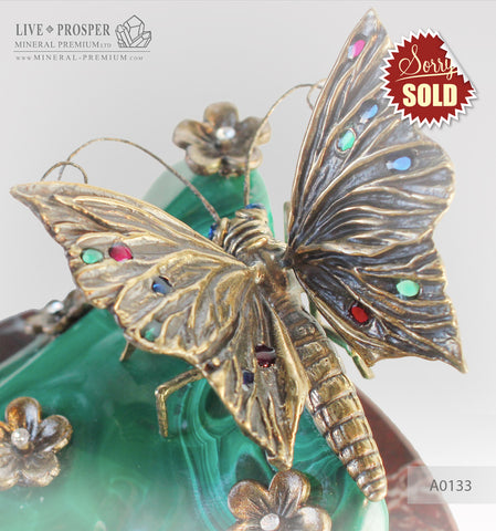 Bronze butterfly and flowers with Swarovski insert on malachite and marvel plate