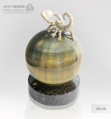 Bronze figure of scorpion on a Chrysoberyl sphere with sea pearl and Swarovski inserts small