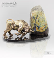 Bronze Bull figure with labradorite on dolerite plate