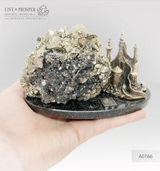 Bronze figures of Dragon and Castle with Pyrite on a dolerite plate  Бронзовые Дракон и замком с Пиритом на пластине из долерита