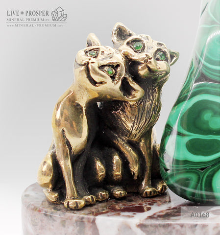 Bronze figures of sweetheart сat couple with gems inserts and malachite on marvel plate
