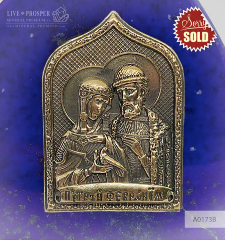 Bronze overlay of the icon figures of Peter and Fevronia with lapis lazuli  A0173B