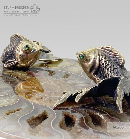 Bronze goldfish couple figures with demantoids inserts with ammonite A0203