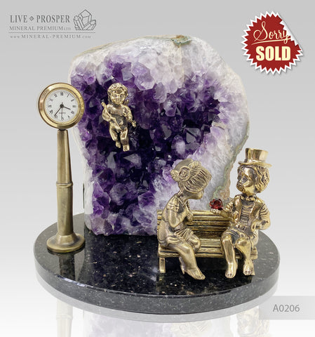 Bronze cupid and sweethearts with garnet heart and clock within geode agate amethyst druzy