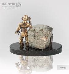 Bronze Figure of monkey with Pyrite on Dolerite plate