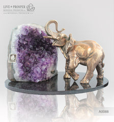 Bronze elephant Figure with Geode agate Amethyst on  Dolerite plate
