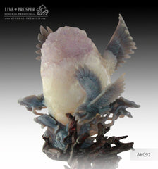 Solid Agate carving of Majestic eagles Fishing with Spread wings on Amethyst Druze