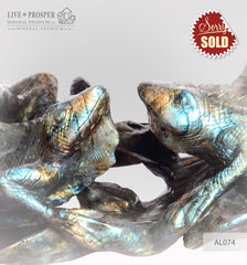 Solid labradorite Lizards carving on a Wooden stand