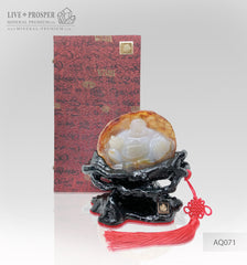 Solid Agate carving of Buddha - Hotey figure on a Wooden stand