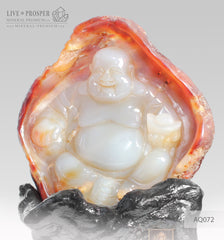 Solid Agate carving of Buddha - Hotey figure on a Wooden stand AQ072