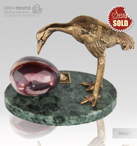Bronze Heron  Figure with Mookaite egg on a Marble plate