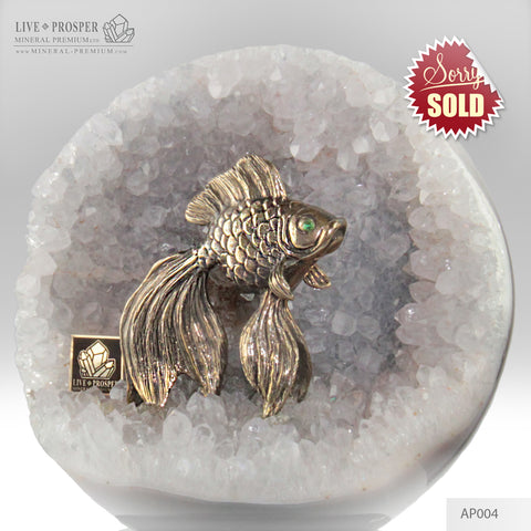 Bronze Figure of Goldfish with Demontoid eyes in Amethyst agate geodes Sphere