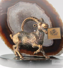 "Bronze figure of ""Capra"" mountain  Goat with geode Agate druz on a Dolerite plate"