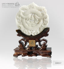 Marble Amulet on a wooden support - Celestial Dragons
