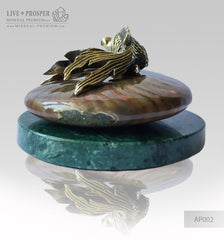 Bronze Goldfish Figure with Demantoid Eyes with Pearls on Ammonit - Marble base