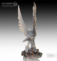 Solid Agate carving Eagle with Spread wings on a Wooden stand