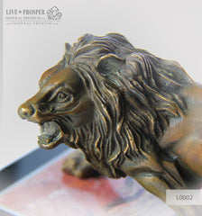 Bronze Lion figure on a Jasper plate