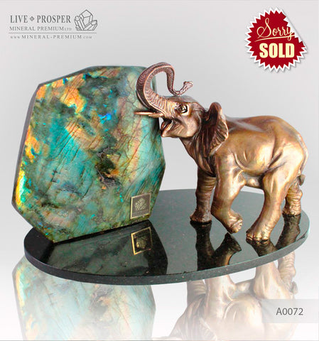 Bronze Elephant figure with Labradorite on a Dolerite plate