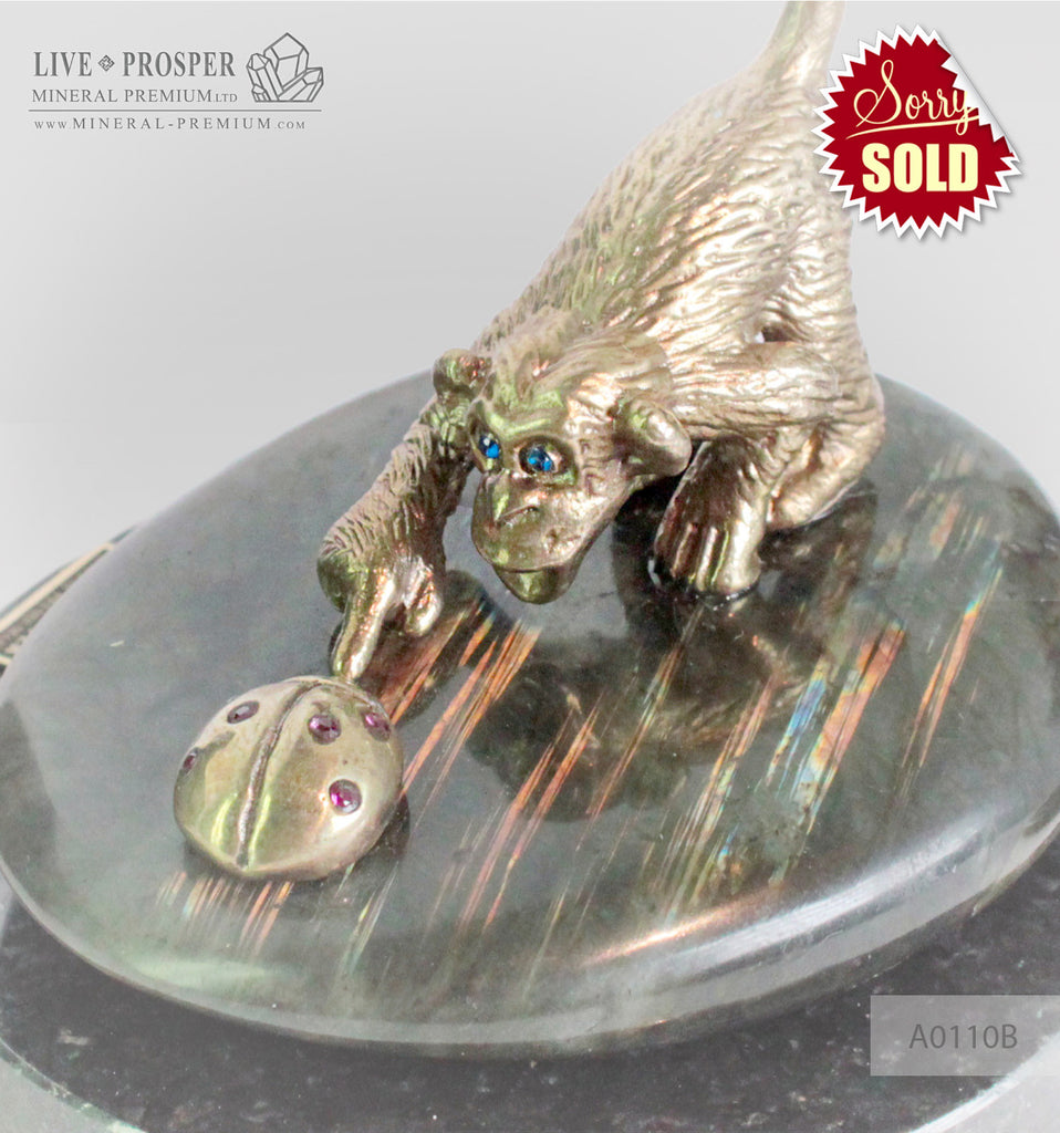 Bronze figures of Monkey and Ladybug with Demantoid inserts with Labradorite on Dolerite plate