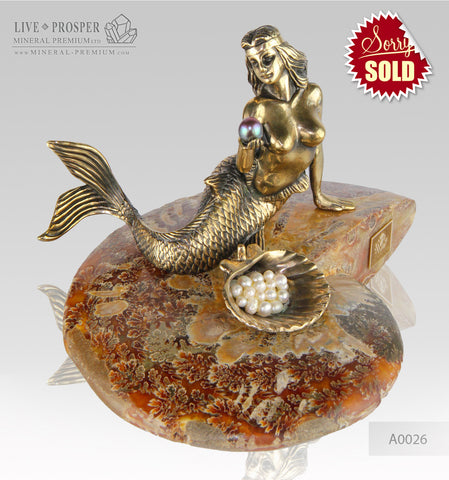 Bronze Mermaid  Figure with River and Sea Pearls on Ammonite