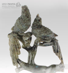 Gift Minerals Solid labradorite carving of Imperial parrots couple