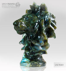 Solid Labradorite Lion head carving