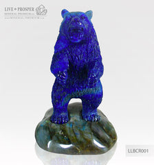 Solid Lapis lazuli Bear carving on a Labradorite plate LLBCR001