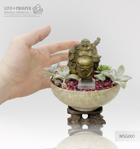 Bronze Buddha - Hotei figure on agate bowl with a succulent's table garden on a wooden stand