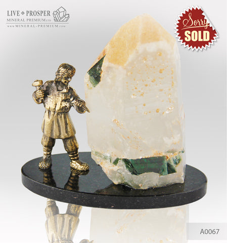 Bronze Danila master Figure with tourmaline in quartz on dolerite plate