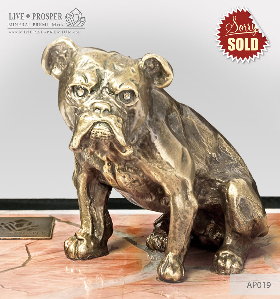 Bronze figure of a dog breed British Bulldog on jasper plate