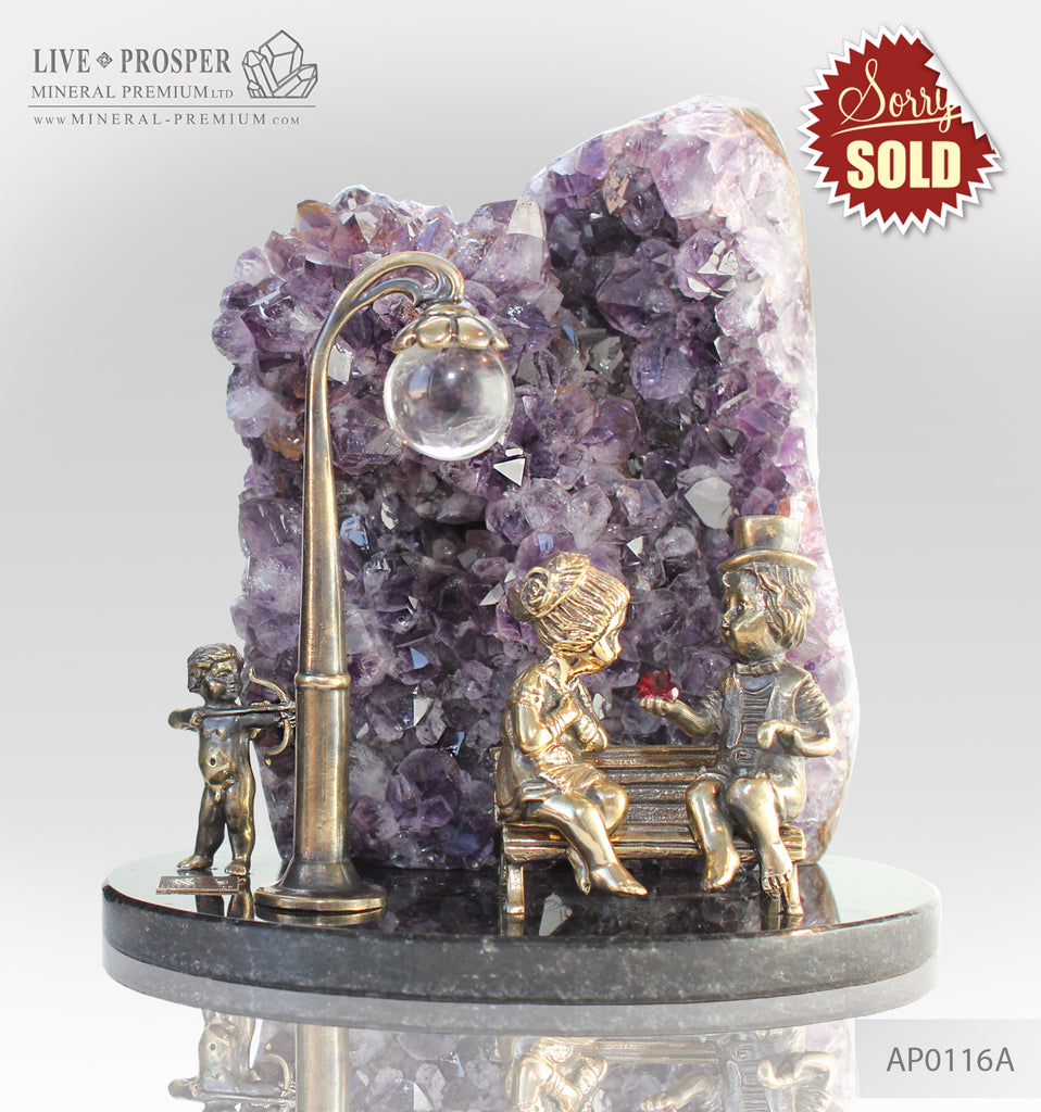 Bronze cupid and sweethearts on a bench with  Agate Geode Amethyst