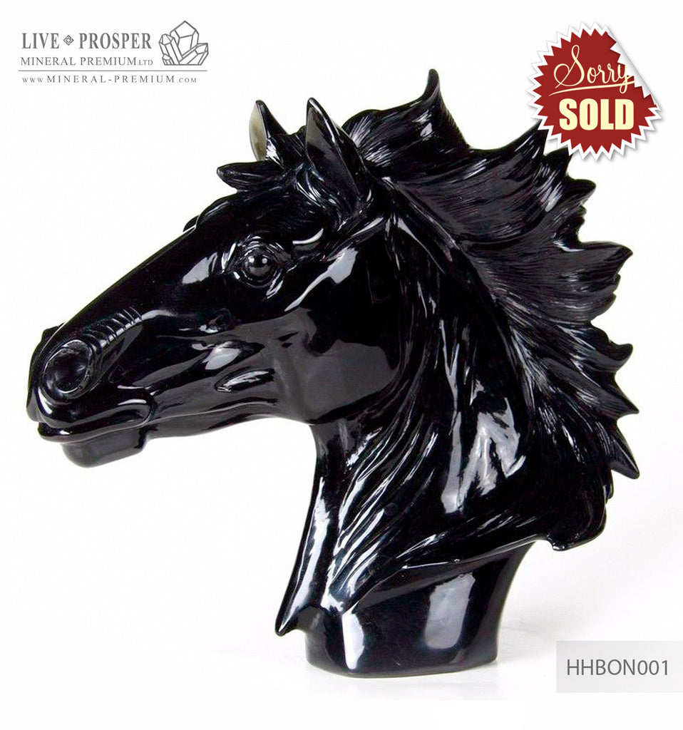 Solid black obsidian Arabian horse head carving