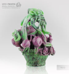 Solid Ruby Zoisite carving of Wedding Basket with Fowers , Berries and Cicada on a Wooden stand