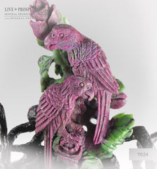 Gift Minerals Solid ruby zoisite carving of parrots couple with roses on a wooden stand