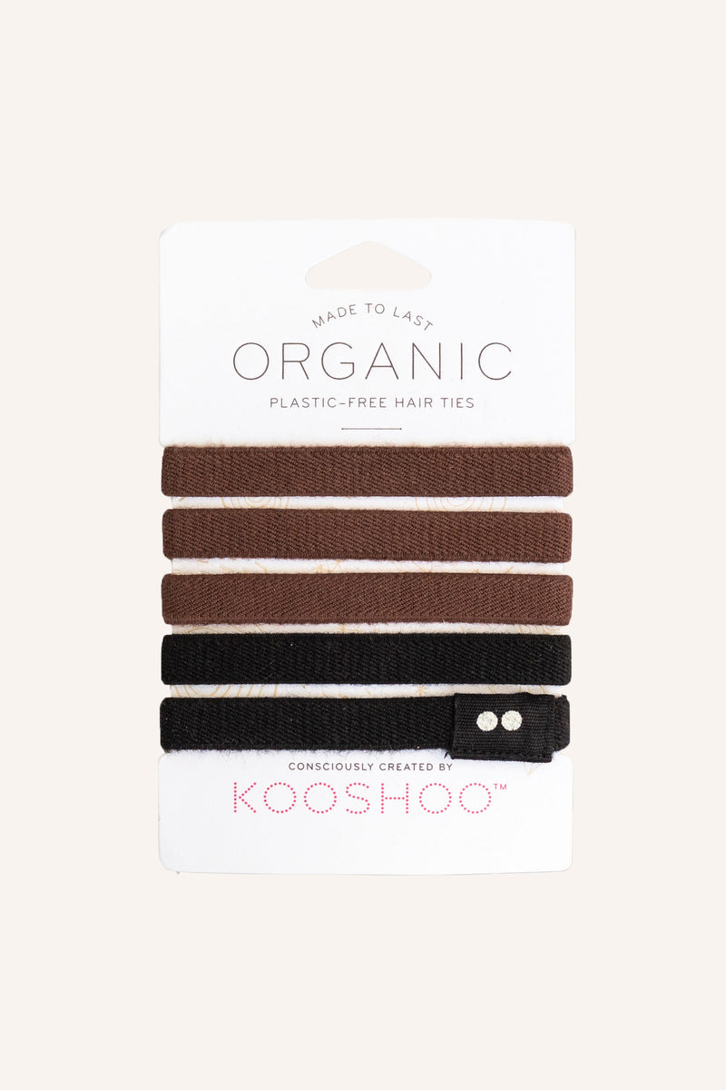Organic Plastic-free Hair Ties - Brown/Black