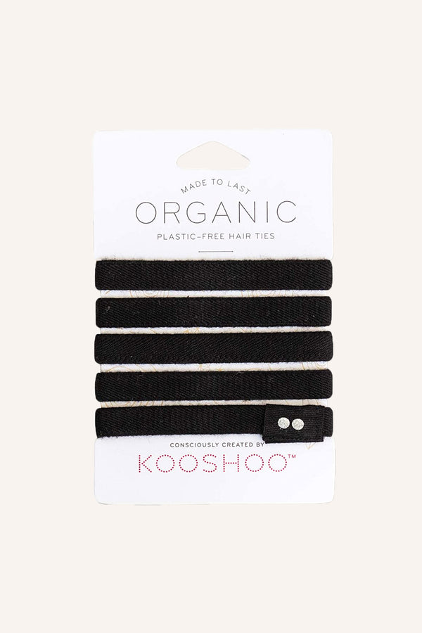 Organic Plastic-Free Hair Ties - Black