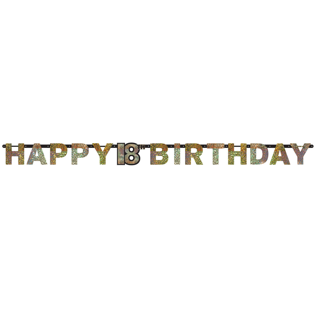 Banner - Birthday - Black/Gold/Silver - Ages 18 - 100