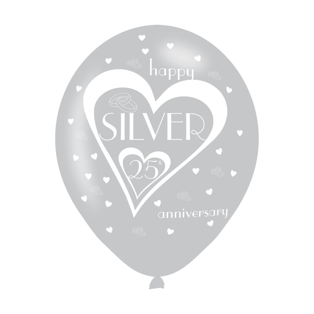 Latex Balloons - Anniversary - 25th Silver