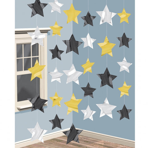 Hanging Decorations - Stars - Gold/Silver/Black