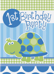 First Birthday Turtle - Invitations