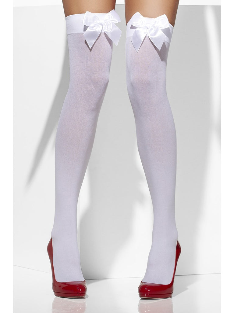 Hold Ups - Opaque - White with Bows (Assorted)