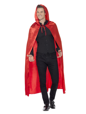 Cape - Hooded - Red - Unisex - Satin
